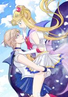 Sailor Moon Crystal - Uranus And Moon by kurohiko