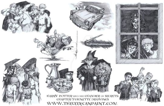 Harry Potter: Book 2 Chapter 5 Vignette Drawings by TheGeekCanPaint