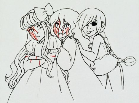 Browse drawings cartoons comics deviantart mrenter 56 10 creepy children trio by la mishi mish sciox Gallery