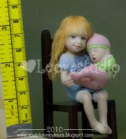 Sisters, ooak dollhouse dolls by ALBuslovich