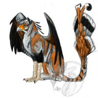 Scretarybird tiger gryphon by Tidma