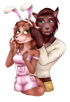 Commission: Ansley and Amberthorn by Kishera