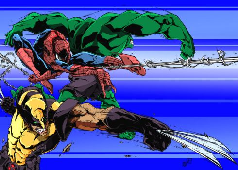 Spiderman Wolverine Hulk colors by kpearce