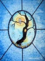 stained glas window with owl by dragonflywatercolors