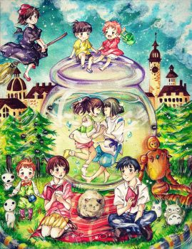 It's A Small World After All (Ghibli crossover) by heri-umu