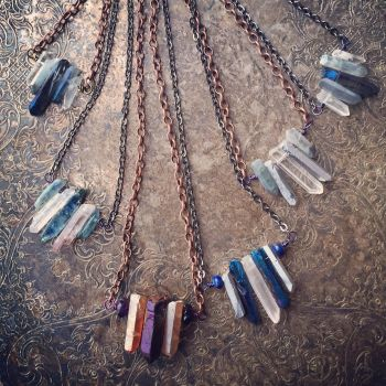 Raw Quartz Crystal Pendants by Beadmask