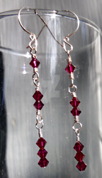1-2-3 Earrings in Ruby and Silver Plated Wire Wrap by Kallamoon