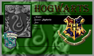 Hogwarts School Card Slytherin Template by demonfoxnaruto