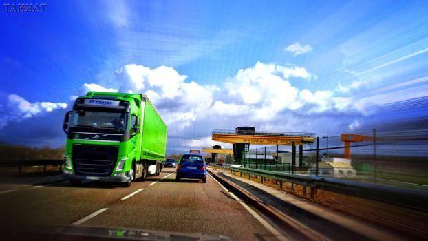 Dashcam Shots: The Green Truck by TAK-KAT