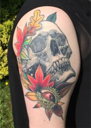 Skull and Autumn Leaves by konfusion-with-a-k