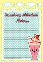 Strawberry Milkshake Note Pad by QuirkishDelight
