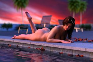 Gina in the pool at sunset 2 by FranPHolland