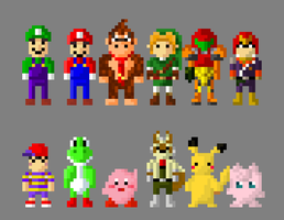 Super Smash Bros N64 Characters 8 Bit by LustriousCharming