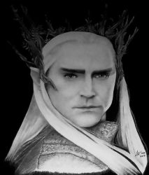 Thranduil, The Hobbit - graphite portrait bw by ckatt01