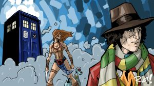 Doctor Who: Four, Leela, K9, and the TARDIS by JamesRiot