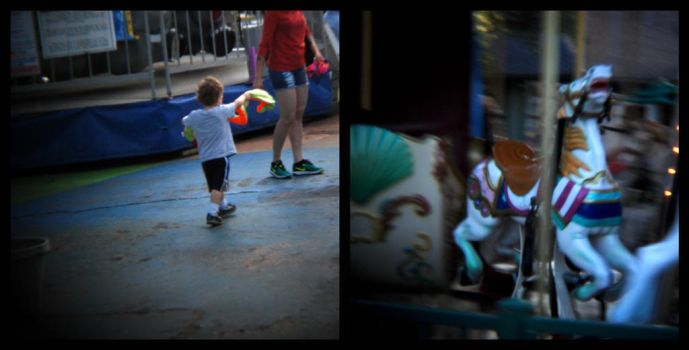 untitled diptych (boy with snake carousel horse) by filmnoirphotos