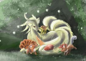 Ninetails and Vulpix by OwlVortex
