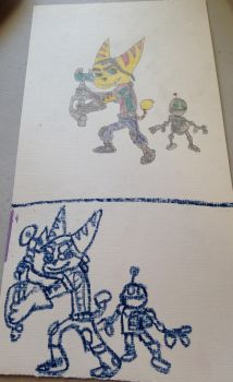 Ratchet and Clank in pastel and colored pencils by Prince5s