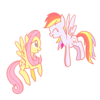 Fluttershy and Rainbow Dash by The-Sliver-Stars