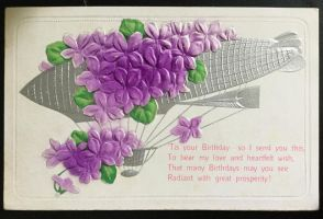 Vintage 1909 Postcard - Airship carrying Violets by KarRedRoses