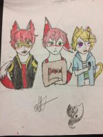 707 (wolf) Saeran (Fox) Yoosung (Cat) by StarZCandy03
