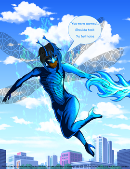 Blu in Flight color WIP 8oct13 by SoveReignComics