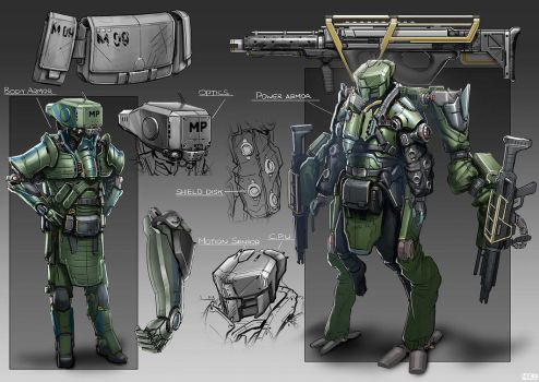 Body Armor and Power Armor by michaellimsstuff