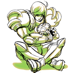 Samus and her little metroid by mishinsilo