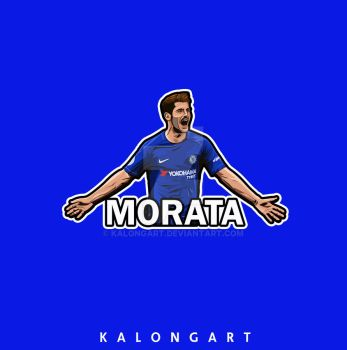 Alvaro Morata Flat design by kalongart