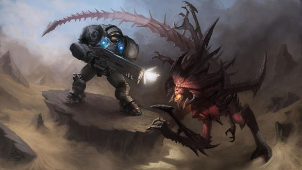 Raynor vs Diablo by DDeriArt