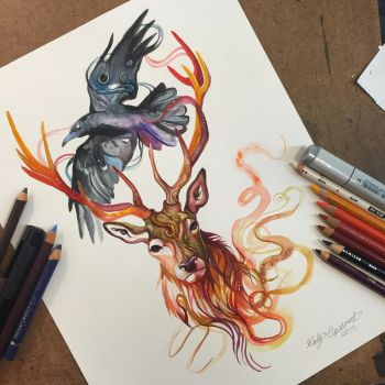 361- Stag and Raven Commission by Lucky978