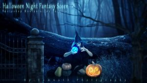 Halloween Night Fantasy Scene by somnathphotography