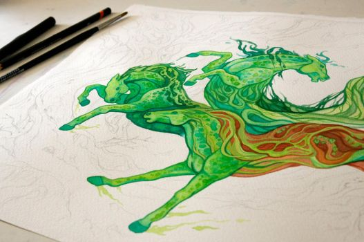 Forest Horses WIP by Aikya
