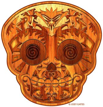 Wooden Sugar Skull by JoeyGates