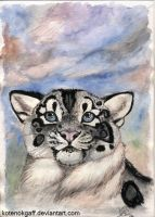 Snow Leopard watercolour by kotenokgaff