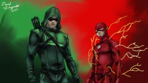 The Flash and Arrow - Digital Painting by davidsobo