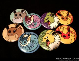 Eeveelution buttons/magnets. by GenghisKrahn