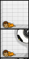 GLaDOS x Chell - Blankie by oddsocket