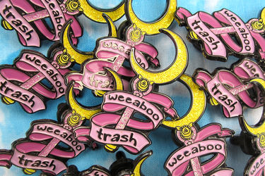 weeaboo trash moon stick pin by megomobile