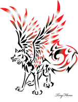 Winged Tribal Wolf by ToryFlores