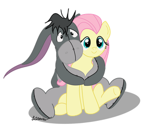 Eeyore and Fluttershy by SylvesterKittyCat