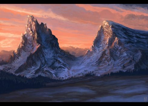   sunset over the mountains   by LeSoldatMort