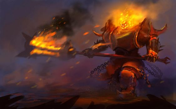 skeleton on fire by Trufanov