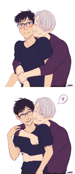 The transition of Yuuri reacting to Victor's hugs by Alexgv-art