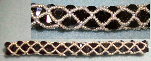 Jet and AB Crystal Netted Bicone Bracelet by Yonaka-Yamako