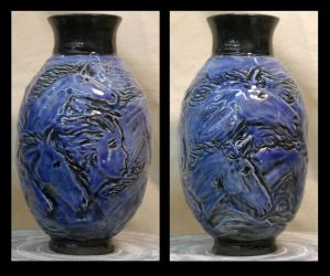 Dreaming - Small blue horse vase by griffinlady