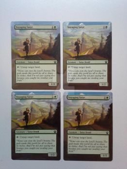 Voyaging Satyr MTG altered playset by artbydarryl