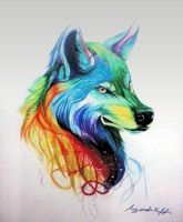 colored wolf by ayouberiffi