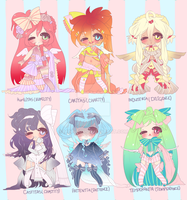 Six Virtuous Adoptables CLOSED by minnoux