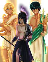 COMMISSION: Will, Nico and Percy as gods by allarica
